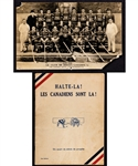"Rare 1936 ""Halte-La! Les Canadiens Sont La!"" 1st Edition Montreal Canadiens 25th Anniversary Booklet + 1933-34 Montreal Canadiens Real Photo Postcard"