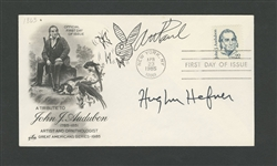 American Magazine Publisher/Life-Stylist Hugh Hefner Signed First Day Cover with Art Paul Signed Playboys Rabbit Logo with COA