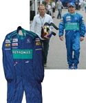 Jacques Villeneuves 2005 Credit Suisse Sauber Petronas F1 Team Signed Race-Worn Suit with His Signed LOA