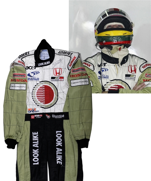 Jacques Villeneuve's 2002 Lucky Strike BAR Honda F1 Team Signed Race-Worn Suit (Look Alike Sponsorship) with His Signed LOA