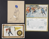 1902 Turkish Trophies Hockey Girl Card, 1910-11 Murad Rochester Hockey Premium Card and 1919 Hockey-Themed Calendar