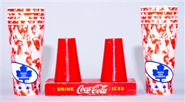 Vintage Circa 1950s Coca-Cola Wood Cup Holder/Stand and Modern Coca-Cola Maple Leaf Gardens Cups (10)