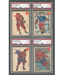 1954-55 Parkhurst Hockey Complete 100-Card Set with PSA-Graded Cards (4) Including #3 Beliveau (VG-EX 4), #7 Richard (Good 2), #41 Howe (VG 3) and #65 Bower RC (VG-EX 4)