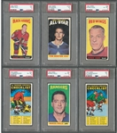 1964-65 Topps Tall Boys Hockey Near Complete Card Set (109/110) with PSA-Graded Cards (6)