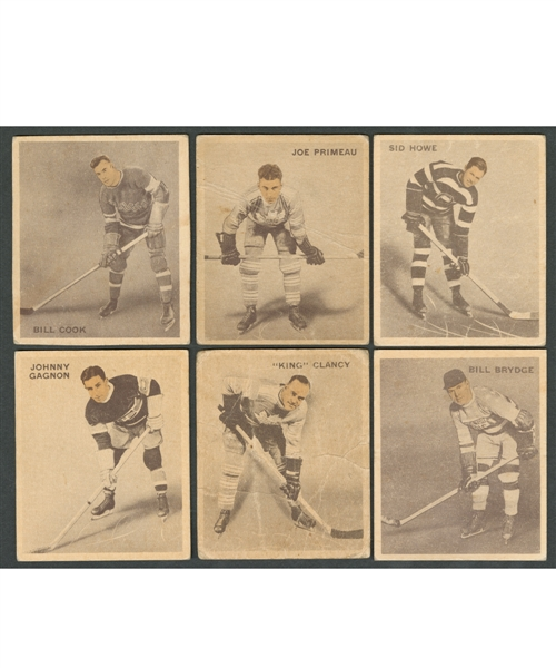 "1933-34 World Wide Gum Ice Kings (V357) Hockey Card Collection of 27 Including #13 Clancy, #30 Cook RC, #40 Primeau RC and #72 Howe RC Plus Clarence ""Happy"" Day Premium Photo"