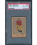 1951-52 Parkhurst Hockey Card #61 HOFer Terry Sawchuk Rookie - Graded PSA NM-MT 8