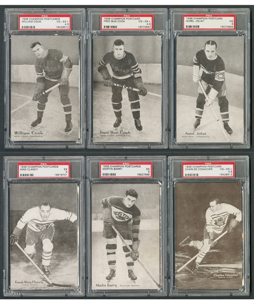 1936 Champion Hockey Postcards Complete Set (10/10) and Triumph Hockey Postcards Starter Set (3/10) - All PSA-Graded