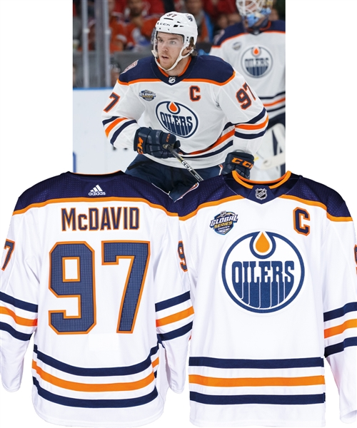 "Connor McDavids 2018-19 Edmonton Oilers ""Global Series"" Game-Worn Captains Jersey with Team LOA - Global Series Sweden and 40th Patches!"