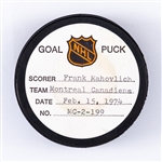 Frank Mahvolichs Montreal Canadiens February 15th 1974 Goal Puck from the NHL Goal Puck Program - Season Goal #19 of 31 / Career Goal #521 of 533