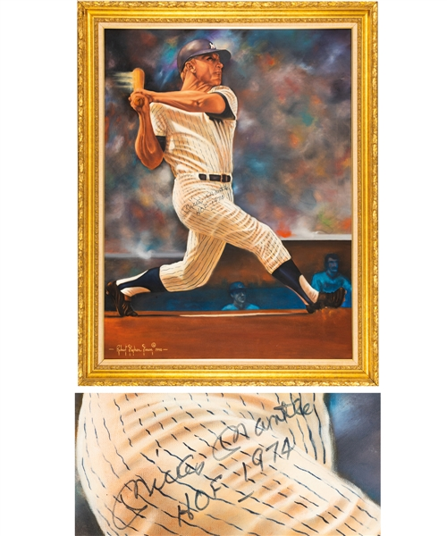 "Huge Mickey Mantle New York Yankees Signed 1990 ""Mantle Solo"" Original Oil on Canvas Framed Painting by Renowned Artist Robert Stephen Simon (43 ½"" x 55"")"