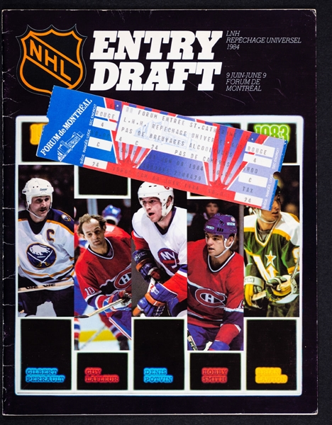 1984 NHL Entry Draft Ticket and Multi-Signed Program Featuring First Overall Pick Mario Lemieux