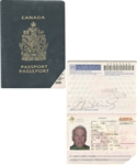 Henri Richards Canadian Passport from His Personal Collection with Family LOA