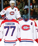 Pierre Turgeons Mid-1990s Montreal Canadiens Game-Issued Captains Jersey with Team LOA