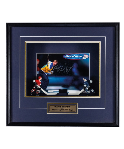 "Wayne Gretzky Signed ""Gretzky vs The Bud Light Bubble Boys"" Framed Display from WGA (19"" x 4"" x 17"") Plus Original ""Bubble Boys"" Bud Light Tin Advertising Sign (24"" x 27"")"