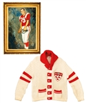 George Springates Mid-to-Late-1960s McGill University Collection Including Football Oil Painting and Scarlet Key Honour Society Cardigan Sweater with Family LOA