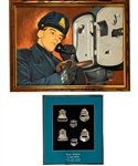 George Springates 1958-69 Montreal Police Department Collection Including Police Badges, Billy Club, Handcuffs, Photos and Tex Coulter Oil Painting with Family LOA