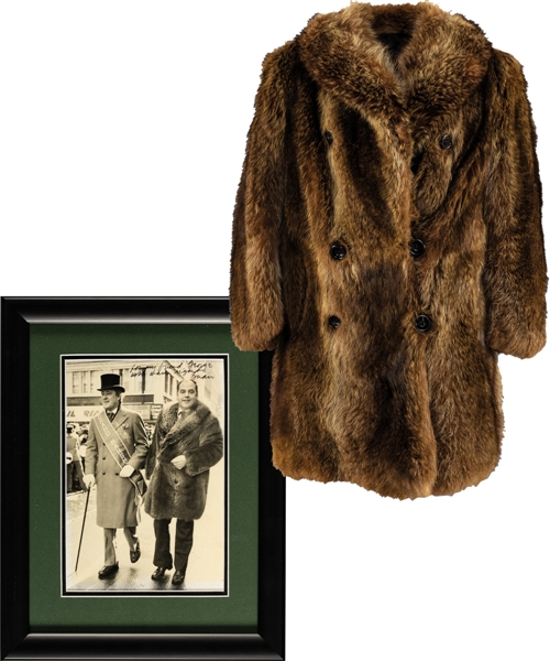 George Springates Personal Beaver Coat Worn at the 1980 St. Patricks Day Parade with Grand Marshall Brian Mulroney Plus Mulroney Signed Photos (2) with Family LOA