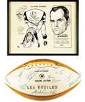 "George Springates 1971 CFL All-Star Game Framed Artwork by Tex Coulter and 1971 CFL All-Star Game ""CFL All-Stars"" Team-Signed Football with Family LOA"