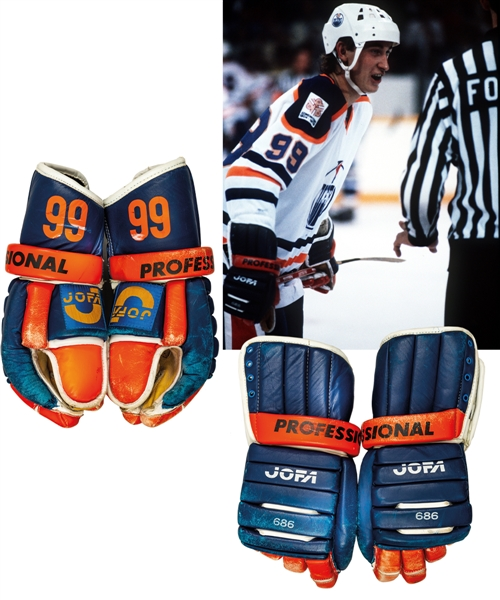 "Vintage Late-1970s/Early-1980s Edmonton Oilers Jofa 686 Professional Game-Worn Gloves Customized with Gretzkys Number ""99"" on Cuffs with Shawn Chaulk LOA"