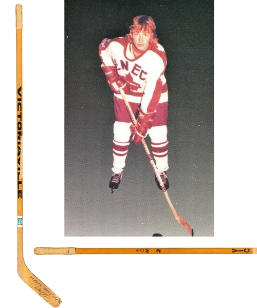 Wayne Gretzkys 1976-77 MJBHL Seneca Nationals Signed Victoriaville Game-Used Pre-NHL Stick with Shawn Chaulk LOA - Originally from Cornish Family Collection - 4-Goal Game Inscription!