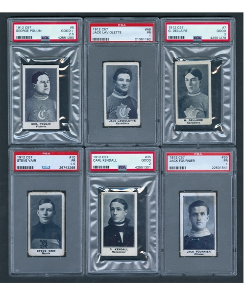 1912-13 Imperial Tobacco C57 PSA-Graded Hockey Card Collection of 6 Including Montreal Canadiens Laviolette, Dallaire and Poulin