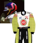 Jacques Villeneuve's 2002 Lucky Strike BAR Honda F1 Team Signed Race-Worn Suit (Lucky Strike Sponsorship) with His Signed LOA