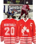 Luc Robitailles 1994 IIHF World Championships Team Canada Game-Worn Captains Jersey with His Signed LOA - Scored Gold Medal Game Tournament-Winning Goal in Shootout! - Photo-Matched!