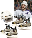 Luc Robitailles 2005-06 Los Angeles Kings CCM Game-Worn Helmet (Photo-Matched to Last NHL Game) and Game-Used Bauer Skates (2 Pairs) with His Signed LOA