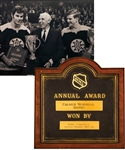 Derek Sandersons 1967-68 Boston Bruins Calder Memorial Trophy Plaque from His Personal Collection with His Signed LOA