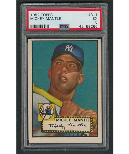 1952 Topps Baseball Card #311 HOFer Mickey Mantle RC - Graded PSA 5