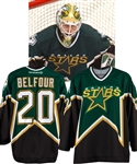 Ed Belfours 2001-02 Dallas Stars Game-Worn Jersey with Team LOA - Photo-Matched!