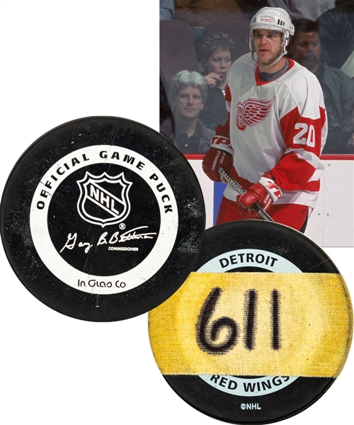 "Luc Robitailles January 18th 2002 ""611th Goal"" NHL Career Milestone Puck from His Personal Collection with His Signed LOA - Passes Bobby Hull for Most NHL Goals by a Left Wing!"