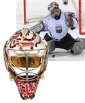 Mikael Tellqvist's 2010-11 KHL Dinamo Riga / Kristers Gudlevskis 2013 IIHF World Championships Team Latvia Game-Worn Bauer Goalie Mask with LOA – Photo-Matched!