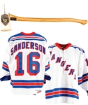 Derek Sandersons Signed New York Rangers Jersey and FDNY Limited-Edition Commemorative Axe #110/1500 from Sept. 11th 2001 from His Personal Collection with His Signed LOA