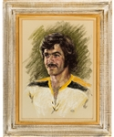 "Derek Sandersons 1972 Boston Bruins Framed Portrait Painting by Mary Waters Jacobs from His Personal Collection with His Signed LOA (24"" x 30"")"