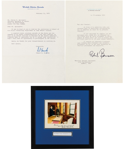 George Springates Political Memorabilia and Autograph Collection Including Ted Kennedy, Robert Bourassa, Brian Mulroney and Others with Family LOA