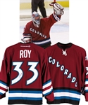 "Patrick Roy 2001-02 Colorado Avalanche ""200th Win with Colorado Avalanche"" Signed Game-Worn Alternate Jersey with LOA - Photo-Matched!"