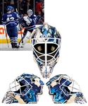 Jonathan Berniers 2013-14 Toronto Maple Leafs Signed Game-Worn Goalie Mask with His Signed LOA