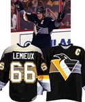 Mario Lemieuxs 1996-97 Pittsburgh Penguins Game-Issued Captains Jersey Traded to Jean Beliveau with Beliveaus Signed LOA