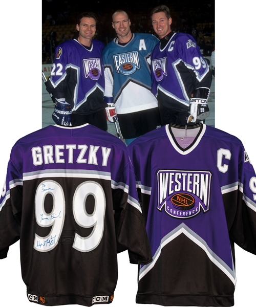 Wayne Gretzkys 1996 NHL All-Star Game Western Conference Signed Worn Captains Jersey with LOA