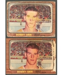 1966-67 Topps Hockey Card #35 HOFer Bobby Orr Rookie (2 Cards) - Both Deemed Altered by PSA