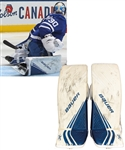 Michael Hutchinson's 2019-20 Toronto Maple Leafs Bauer Game-Worn Pads with Team LOA - Photo-Matched!