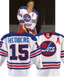 Anders Hedbergs 1976-77 Winnipeg Jets Game-Worn Alternate Captains Jersey with His Signed LOA - Team Repairs! - 70-Goal Season! - Photo-Matched!