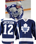 Jeff Jacksons 1986-87 Toronto Maple Leafs Game-Issued Jersey - Heart and Stroke Foundation and King Clancy Memorial Patches!