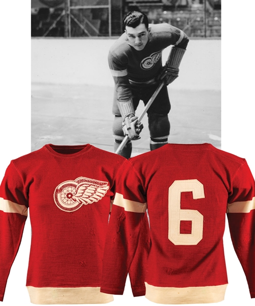 Larry Auries 1930s Detroit Red Wings Game-Worn Wool Jersey with LOA - Team Repairs! - Originally Obtained from Family!