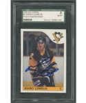 1985-86 Topps Hockey #9 HOFer Mario Lemieux Signed Rookie Card - Graded SGC Authentic