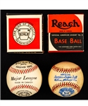 "Vintage 1930s/1940s OAL No. 0 William Harridge Reach Baseball in Original Box (Canadian Variation) Plus Vintage Reach ""Major League"" Baseball in Original Box"